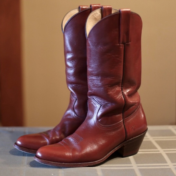 d24eb09415399 Vintage Frye Oxblood Cowboy Boots Size 12